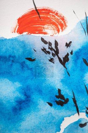 Photo pour Peinture japonaise avec ciel bleu, branches et soleil rouge sur blanc - image libre de droit