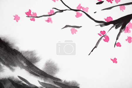 Japanese painting with grey hill and Sakura branches on white background