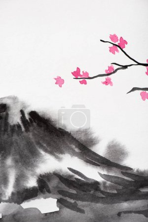 Japanese painting with grey hill and Sakura branches on white