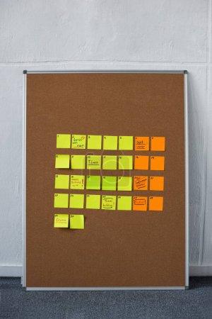 Photo pour Tableau brun avec des notes collantes jaunes et oranges près du mur - image libre de droit