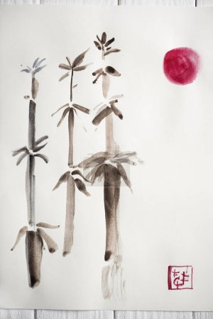 Top view of paper with japanese painting with bamboo, pink sun and seal on wooden background