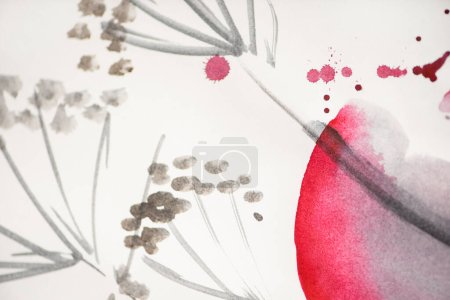 Photo for Japanese painting with flowers and pink circle on white background - Royalty Free Image