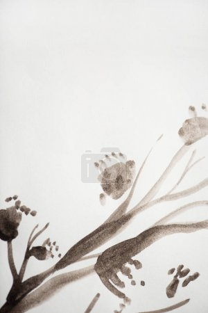 Photo for Japanese painting with plant on white background - Royalty Free Image