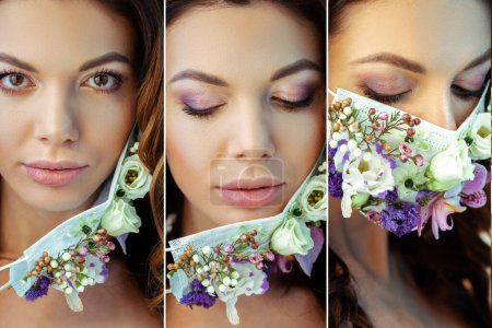 Photo pour Collage de jeune femme séduisante en masque floral - image libre de droit