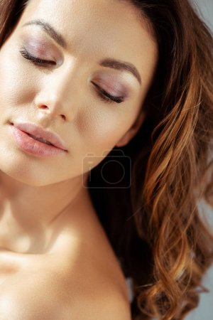 Photo for Beautiful and naked woman with eye shadow and mascara - Royalty Free Image