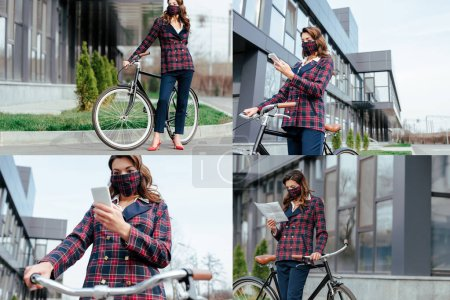 collage of businesswoman in plaid mask using smartphone and reading newspaper near bicycle outside