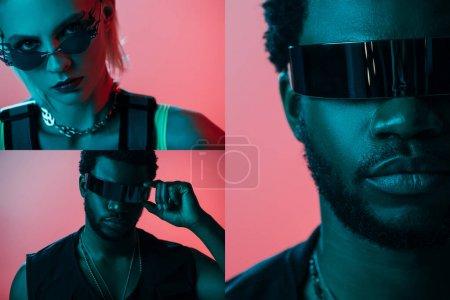 Photo pour Collage avec une femme à la mode et un homme américain d'origine africaine se posant en futuriste et des lunettes de soleil en rose - image libre de droit