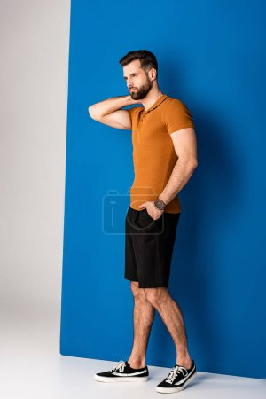 Photo for Handsome fashionable man posing in shorts and brown polo on grey and blue - Royalty Free Image