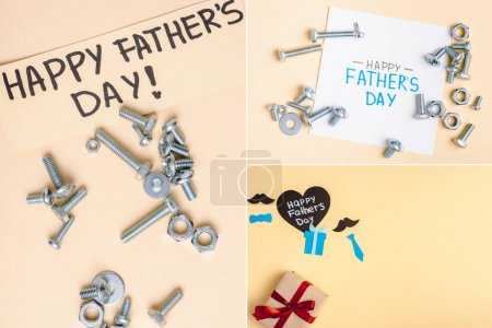 Photo for Split image with metal nuts and bolts and greeting cards with lettering happy fathers day on beige background - Royalty Free Image