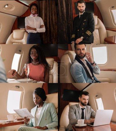 Photo pour Un rassemblement de pilotes et d'hôtesses multiculturels, d'hommes et de femmes élégants et de gens d'affaires utilisant un ordinateur portable et un téléphone intelligent dans un jet privé - image libre de droit