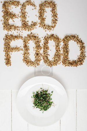 top view of fresh microgreen on plate near eco food lettering made of sprouts on white wooden surface