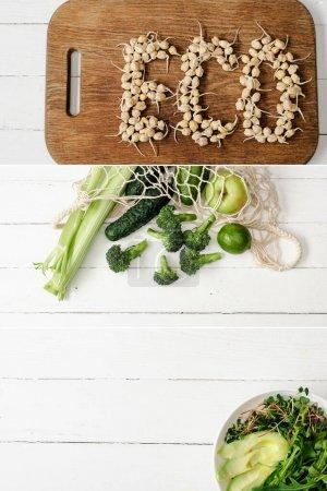 Photo pour Collage de mot écologique fait de germes, fruits et légumes verts dans un sac à ficelle et un bol de microvert et d'avocat sur une table en bois blanc - image libre de droit