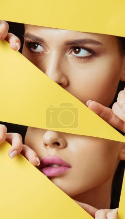 Photo for Collage of woman with makeup looking away across triangular hole and touching yellow paper with fingers - Royalty Free Image