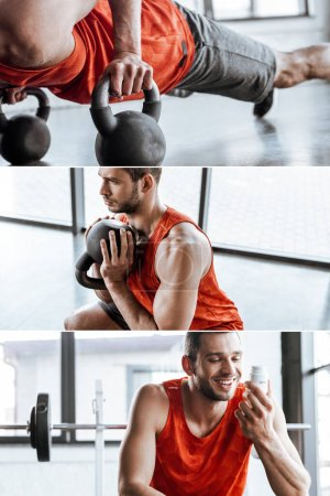 Photo for Collage of happy sportsman looking at bottle with probiotic lettering and exercising with dumbbells in gym - Royalty Free Image