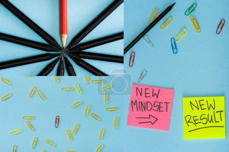 Photo for Collage of sticky notes with new mindset and new result lettering with paper clips and pencils on blue - Royalty Free Image