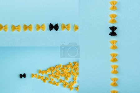 Photo for Collage of unique black pasta among yellow on blue background - Royalty Free Image