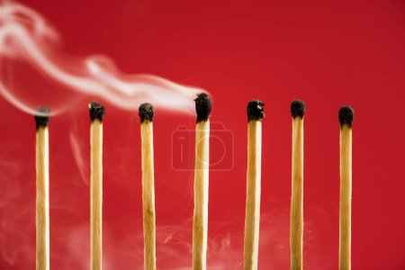 Photo for Unique burned match with smoke among another on red - Royalty Free Image