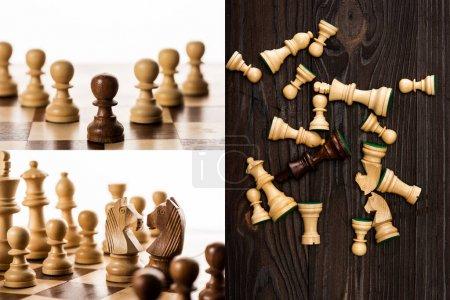 Photo pour Collage d'échecs sur échiquiers sur fond blanc et bois - image libre de droit