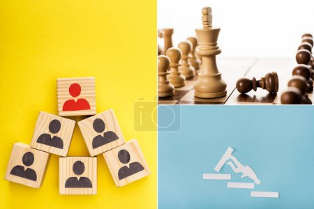 Photo for Collage of wooden cubes with painted men, paper man on stairs and king with pawns on chessboard on yellow, blue and white - Royalty Free Image