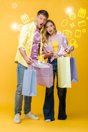 beautiful surprised couple holding shopping bags on yellow, glowing illustration