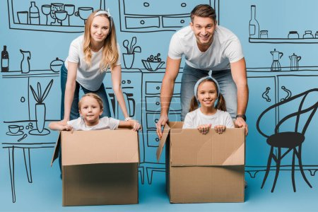 Photo for Smiling parents with children in cardboard boxes for relocation on blue, kitchen interior illustration - Royalty Free Image