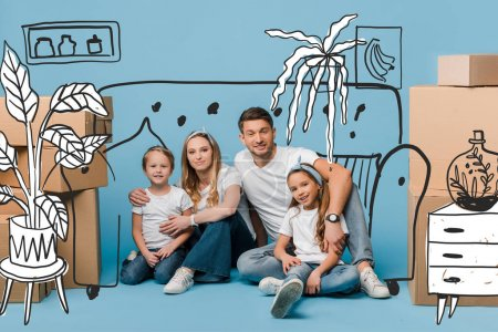 Photo for Happy parents hugging kids and sitting on blue with cardboard boxes for relocation, interior illustration - Royalty Free Image