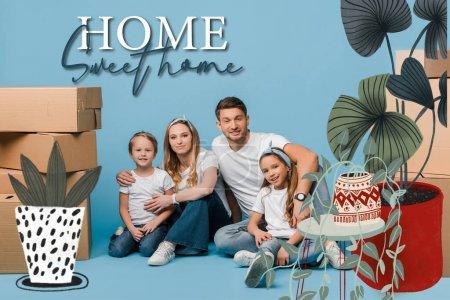 Photo pour Des parents heureux embrassant leurs enfants et assis sur le bleu avec des boîtes de carton pour le déménagement, illustration de la douceur de la maison et des plantes - image libre de droit