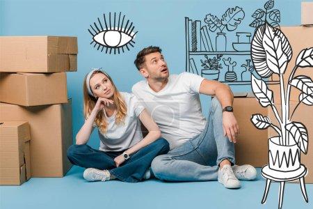 Photo pour Couple rêveur assis avec des boîtes en carton pour la relocalisation sur bleu, illustration intérieure - image libre de droit