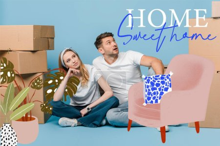Photo pour Couple rêveur assis avec des boîtes en carton pour la relocalisation sur bleu, illustration maison douce - image libre de droit