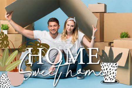 beautiful couple holding carton roof over heads while sitting on blue with cardboard boxes for relocation, home sweet home illustration