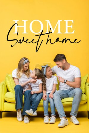 Photo for Happy parents talking with adorable daughter and son while sitting together on sofa on yellow, home sweet home illustration - Royalty Free Image