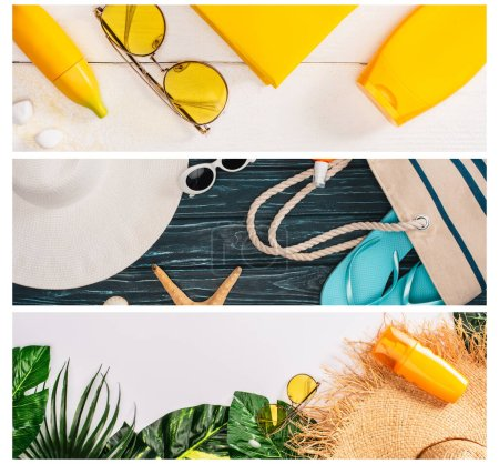 Photo for Collage of sunscreens, green leaves with sunglasses and flip flops on wooden planks and white surface - Royalty Free Image