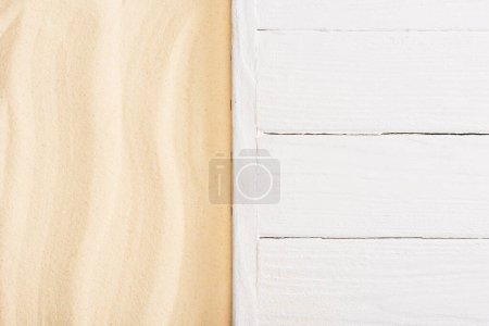 Photo for Top view of white wooden planks and sand - Royalty Free Image