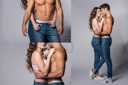 Foto de Collage of woman and muscular man looking on each other and hugging on grey. - Imagen libre de derechos