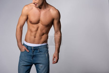 Photo for Cropped view of muscular man in denim jeans standing with hand in pocket on grey - Royalty Free Image