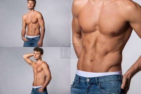 Photo pour Collage de l'homme musclé en jean denim bleu debout avec les mains dans les poches sur gris - image libre de droit