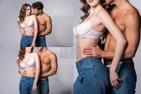 Foto de Collage of shirtless man in jeans standing with attractive girl in white bra on grey. - Imagen libre de derechos