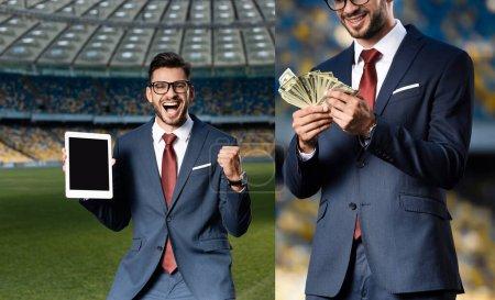 Photo pour Collage d'un jeune homme d'affaires gai en costume et lunettes tenant une tablette numérique avec écran vierge et montrant un geste positif, tenant des dollars au stade - image libre de droit