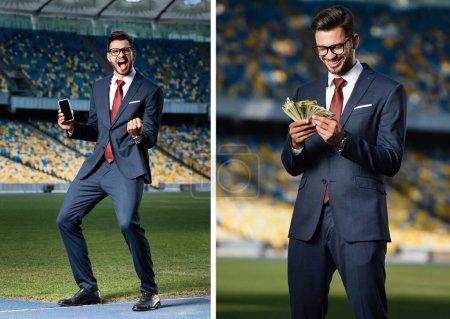 Photo pour Collage excité jeune homme d'affaires en costume et lunettes tenant smartphone avec écran blanc et montrant geste oui, homme d'affaires avec de l'argent au stade - image libre de droit