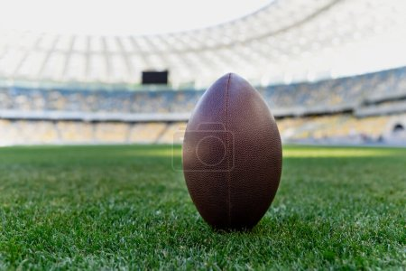 Photo for Rugby ball on green grass at stadium with copy space - Royalty Free Image
