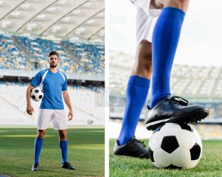 Photo pour Collage de footballeur professionnel en uniforme bleu et blanc et jambes masculines en chaussures de football sur le terrain de football au stade - image libre de droit