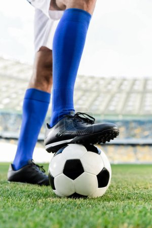 Photo for Legs of professional soccer player in blue socks and soccer shoes on ball at stadium - Royalty Free Image
