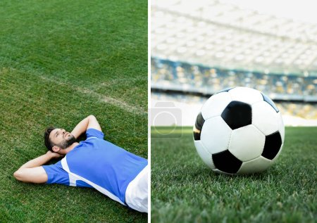 Photo for Collage of professional soccer player in blue and white uniform lying on grass and ball on football pitch at stadium - Royalty Free Image