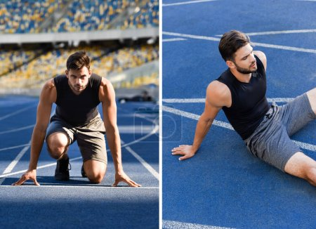 Photo for Collage of handsome runner in start position and resting on running track at stadium - Royalty Free Image
