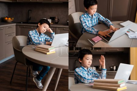collage with asian boy studying online with books and laptop at home during quarantine