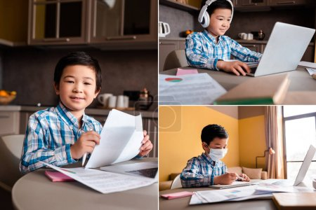 Photo for Collage with asian boy studying online with papers, books, laptop and headphones at home during quarantine - Royalty Free Image