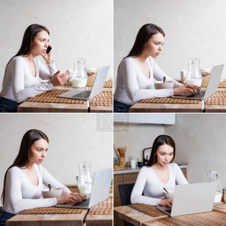collage de freelance parler sur smartphone près des ordinateurs portables et le petit déjeuner
