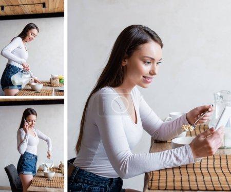 Photo pour Collage de fille heureuse parlant sur les smartphones, verser du lait dans des bols et tenant cuillère avec des flocons de maïs - image libre de droit