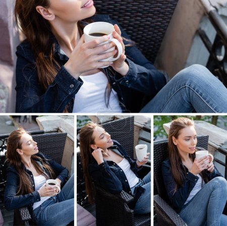 collage of happy girl in denim jeans and jackets sitting on chairs and holding cups of coffee on balcony