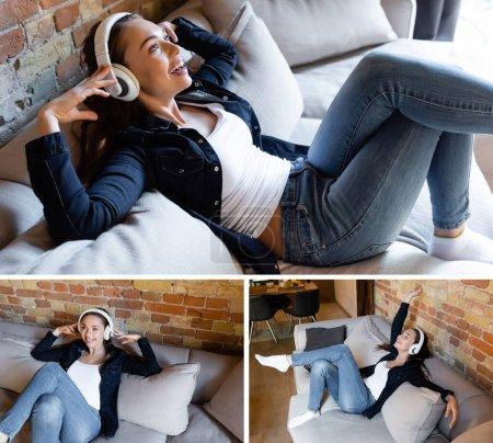 Photo pour Collage de fille joyeuse touchant écouteurs sans fil tout en écoutant de la musique dans le salon - image libre de droit